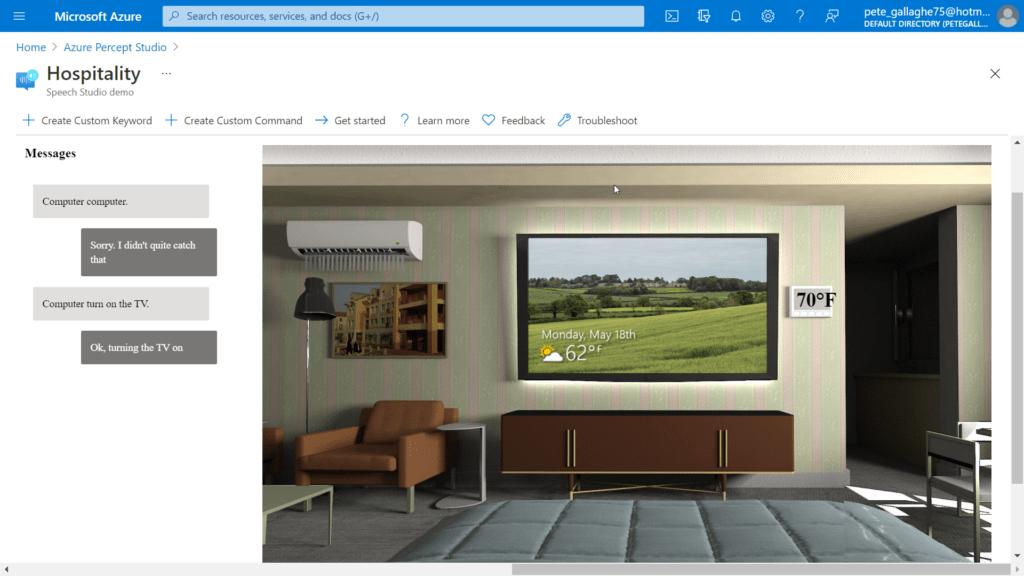 Azure Percept Audio - Hospitality Sample Application