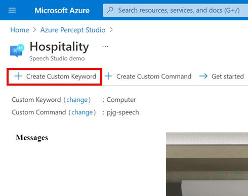 Azure Percept Audio - Hospitality Sample Application - Create Custom Keyword Button