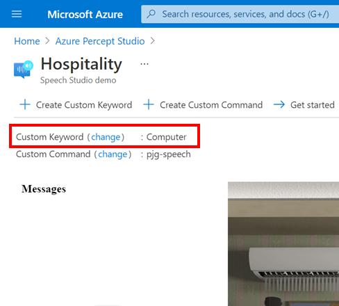 Azure Percept Audio - Hospitality Sample Application - Custom Keyword