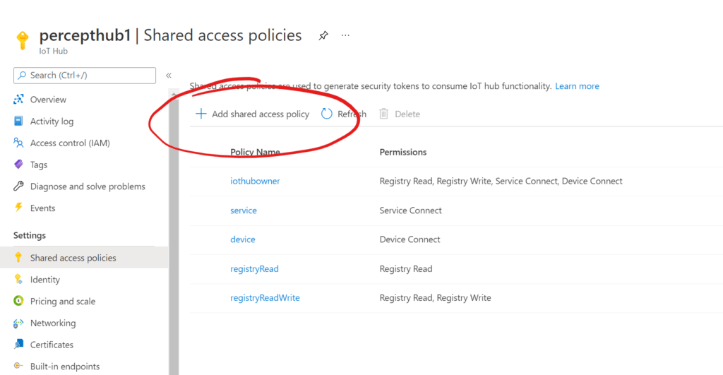 IoT Hub - Shared Access Policy List
