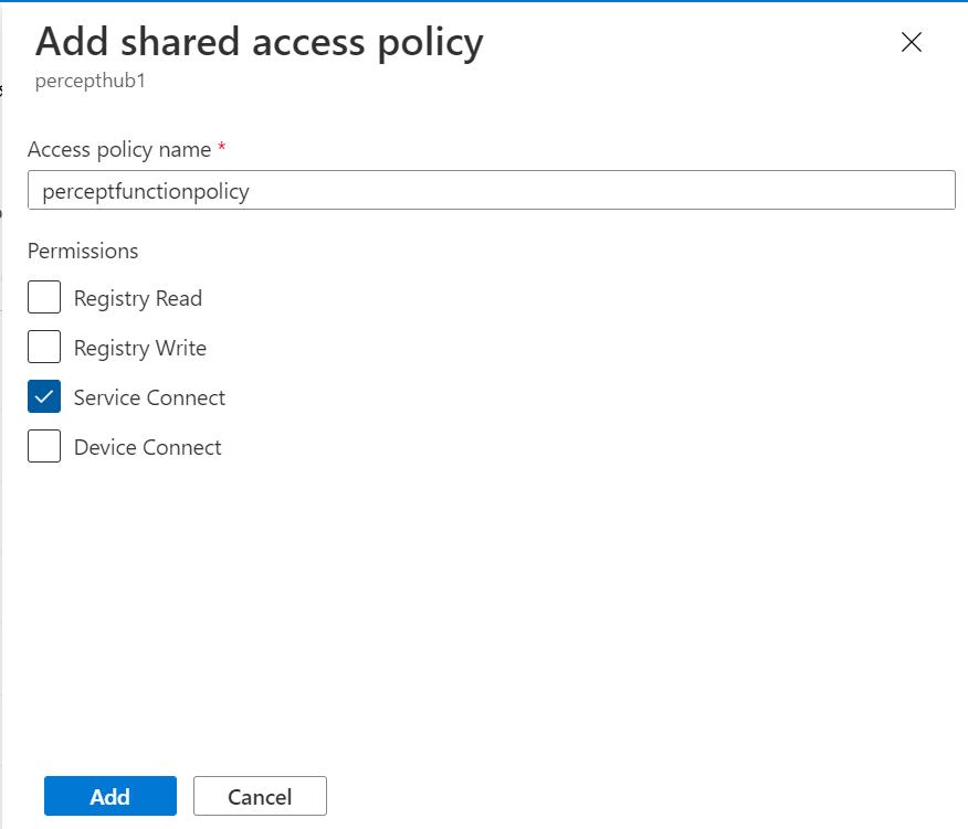 IoT Hub - Add Shared Access Policy