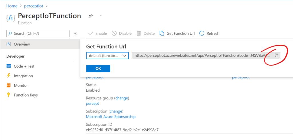 Azure Function - Function URL