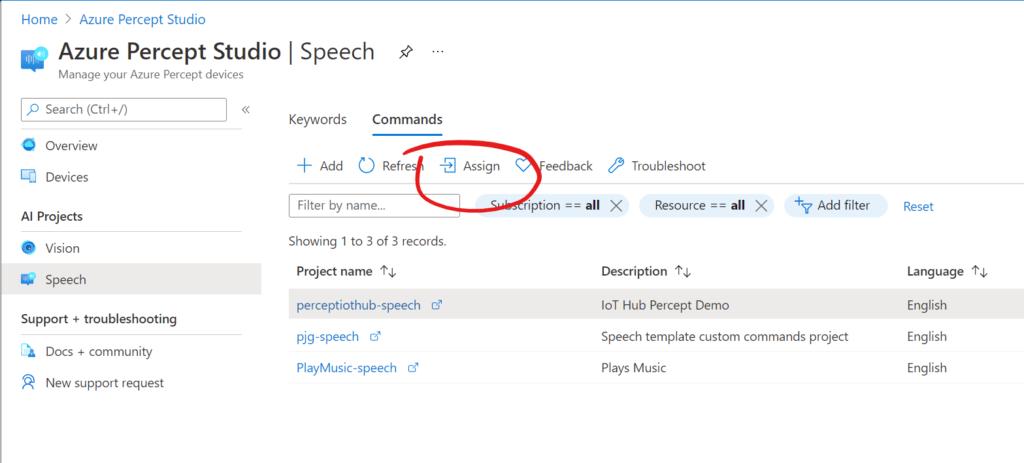 Azure Percept Studio - Assign Custom Command