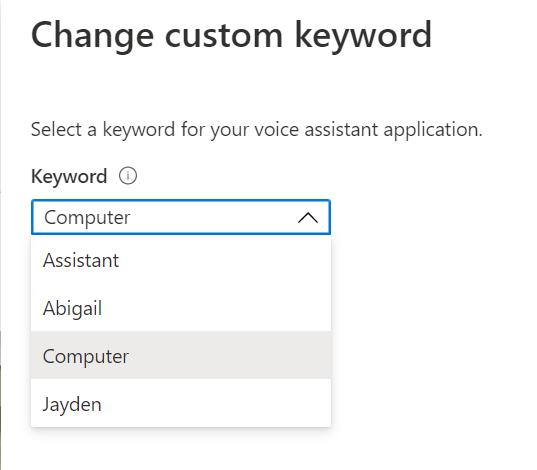 Azure Percept Audio - Hospitality Sample Application - Custom Keyword Choices