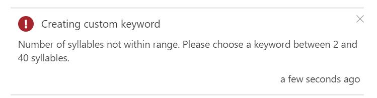 Azure Percept Audio - Custom Keyword Creation Failed