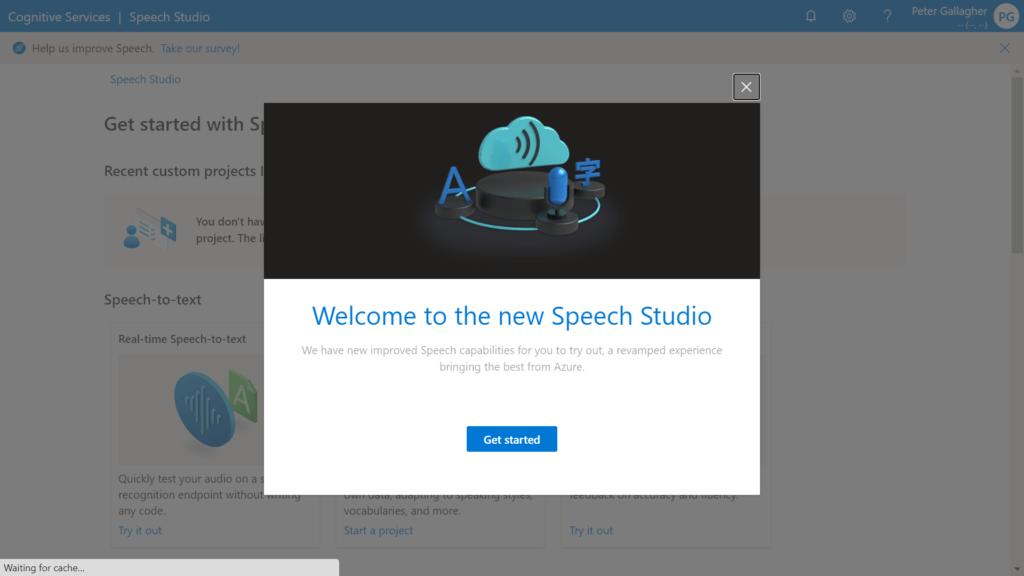 Azure Speech Studio - Welcome Popup