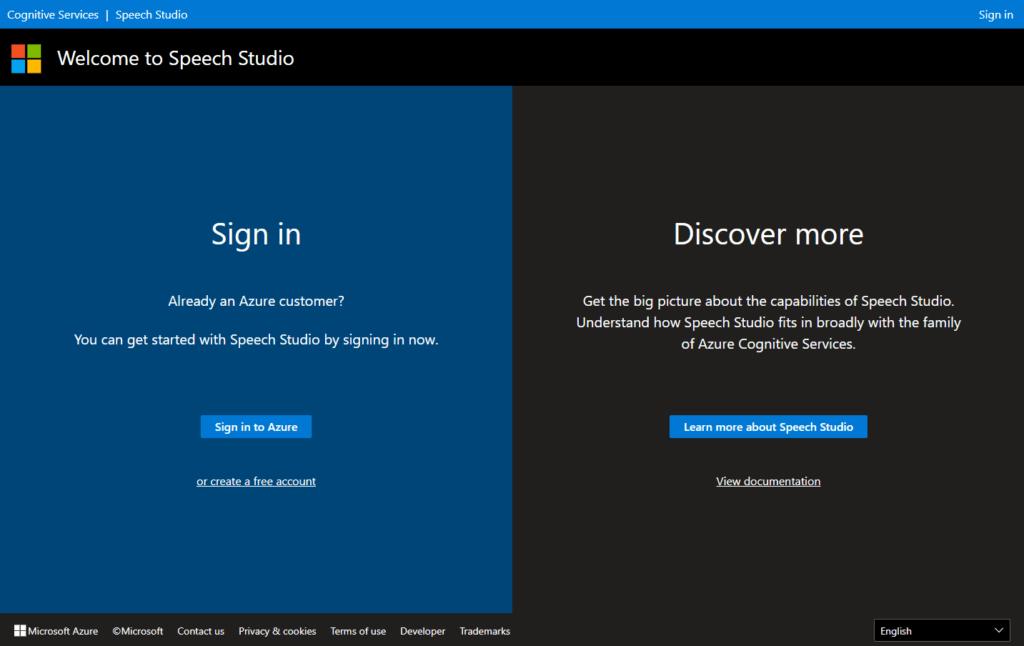 Azure Speech Studio - Sign In