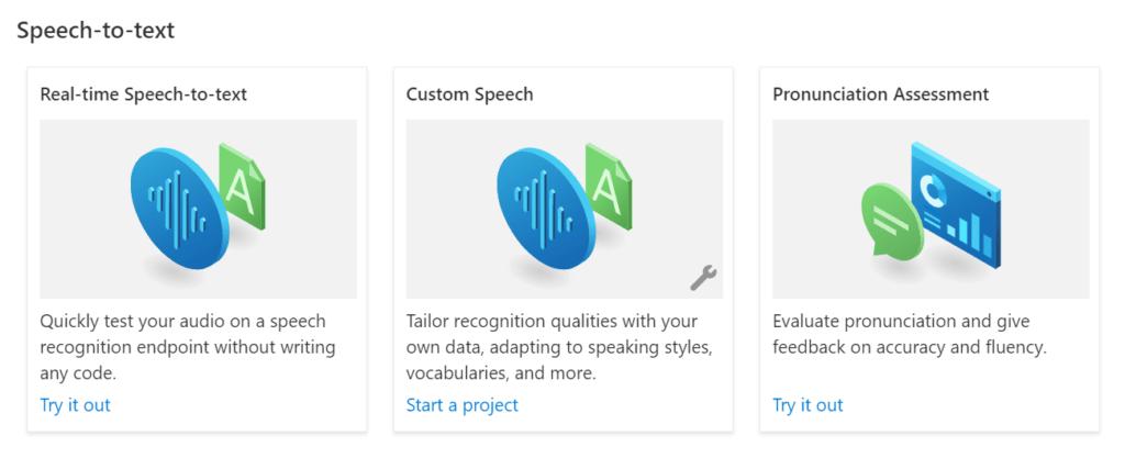 Azure Speech Studio - Speech-to-text options