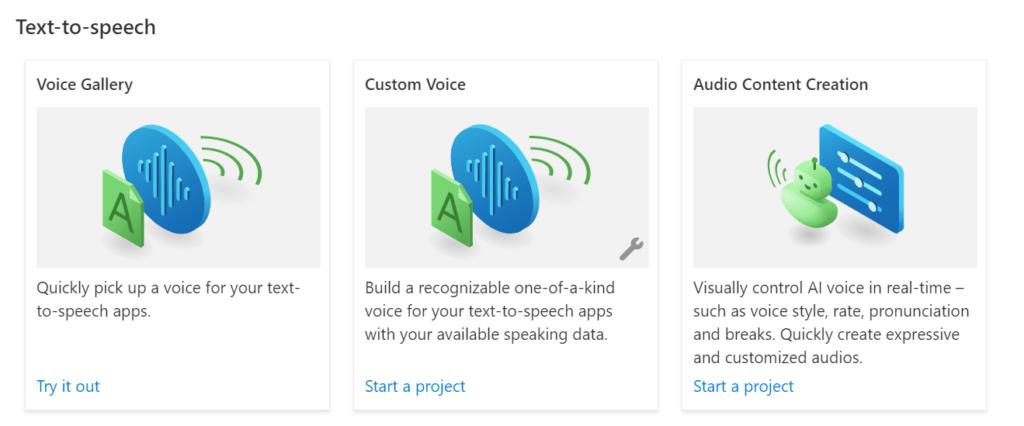 Azure Speech Studio - Text-to-speech options