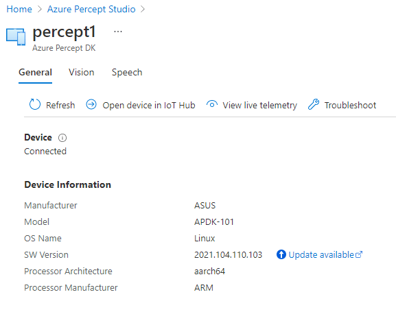 Azure Percept Studio - Device Details